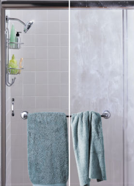 Hard water on shower door